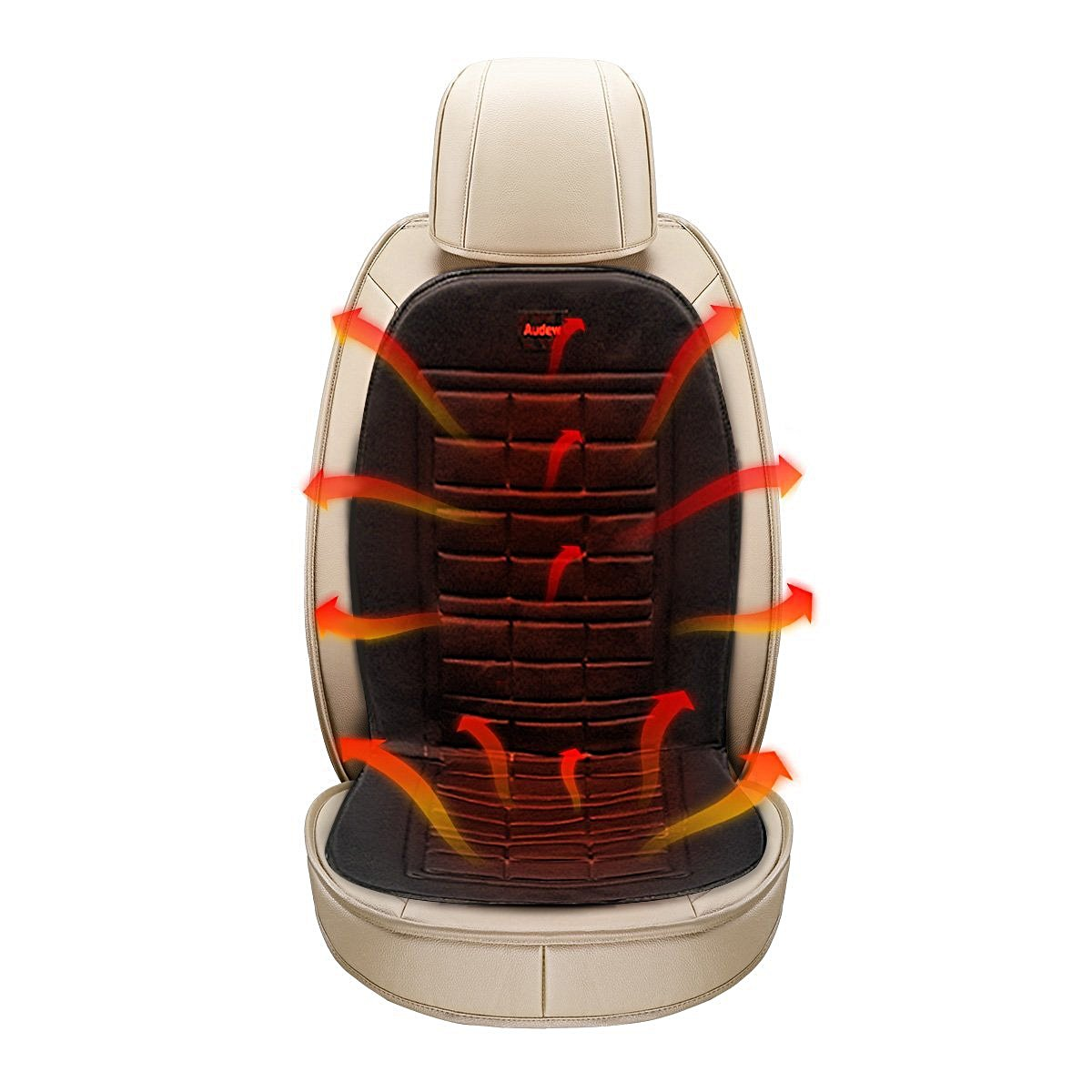 Heated Seat Cushion 12-Volt Padded Thermal Release for Car SUV Van Truck /& Office Chair BDK SC-056 Travel Warmer
