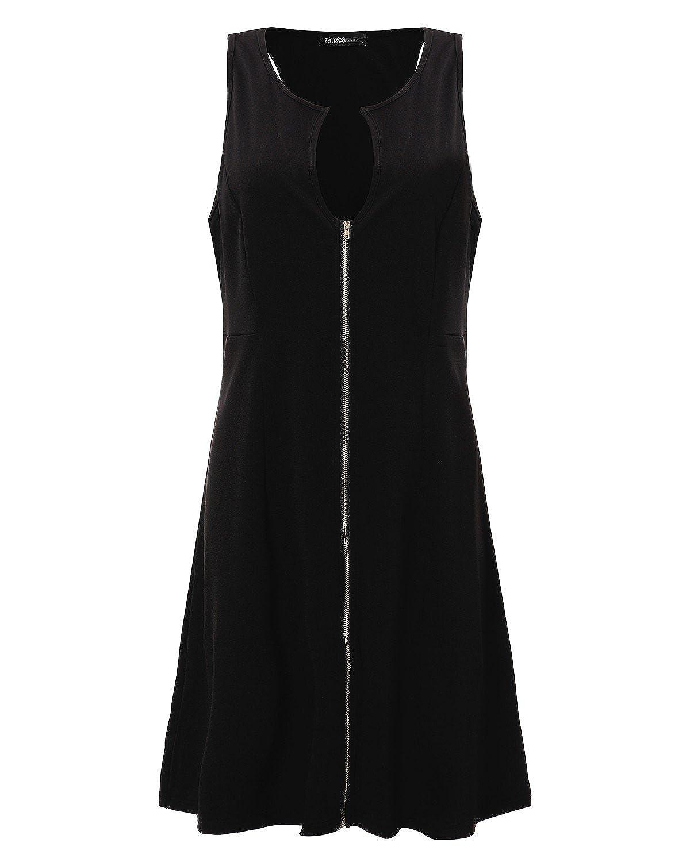 StyleDome Vestido Corto Elegante Casual Fiesta sin Mangas Cóctel Noche para Mujer Gordita Negro EU 54: Amazon.es: Ropa y accesorios