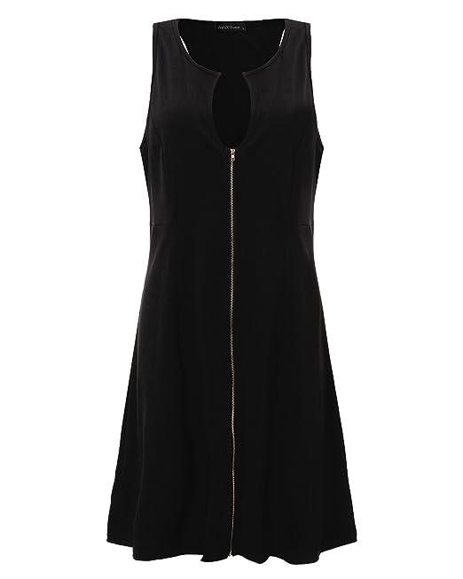 StyleDome Vestido Corto Elegante Casual Fiesta sin Mangas Cóctel Noche para Mujer Gordita Negro EU 42