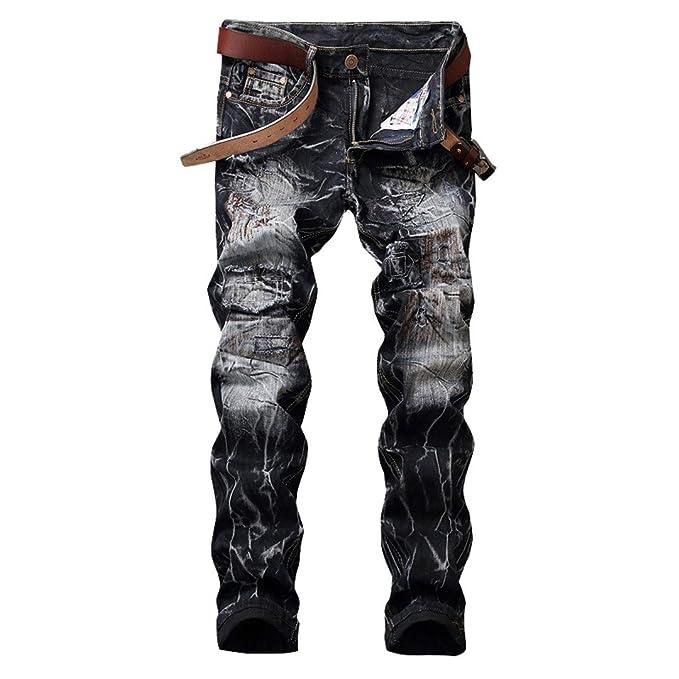 la mejor actitud 517d1 86fa8 NZK Men's Jeans Biker Jeans Hiphop Punk Straight Pantalon ...