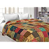 Jaipuri Haat Handmade Indian Rural Pure Cotton Vintage King Size Floral Print Bed Spread Gudri Kantha Quilt