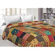 Jaipuri Haat Handmade Indian Rural Pure Cotton Vintage King Size Floral Print Bed Spread Gudri Kantha Quilt