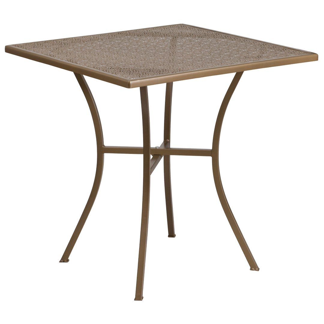 MFO 28'' Square Gold Indoor-Outdoor Steel Patio Table