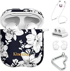AirPods Case Protective Skin Cover, 5 in 1 Bling Crystal from Swarovski for Apple AirPods 2 & 1 Hard Lily Floral Print AirPods Cover with Keychain/Strap/Ear Hook/Watch Band Holder by KINGXBAR