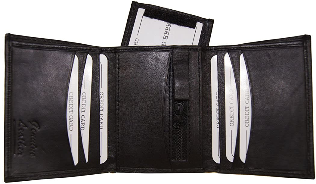 Mens Genuine Leather Tri Fold Zip and Valcro Removable Id Wallets