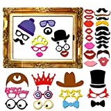 JPSOR Photo Props 60 pcs DIY Kit for Wedding Party Reunions Birthdays Photo booth Prop Dress-up Accessories & Party Favors