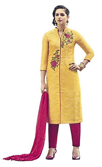 67b71e1b08 Heart & Soul Designer Wedding & Party Wear Fully Stitched Embroidery  Designer Salwar Suits Dupatta XL size for Women (Yellow): Amazon.in:  Clothing & ...