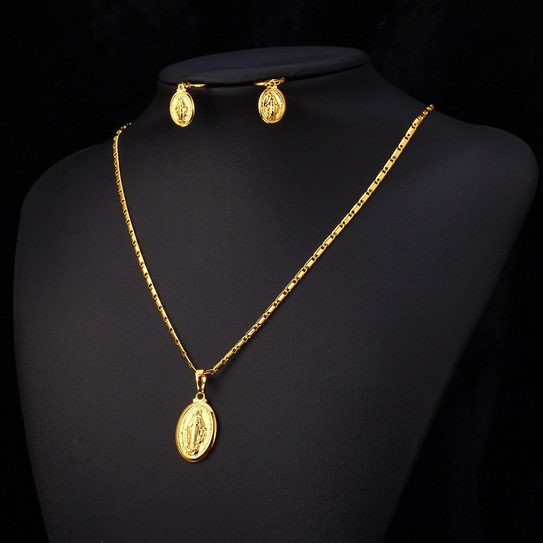 Amazon U7 Virgin Mary Jewelry Set Religious Rose Gold