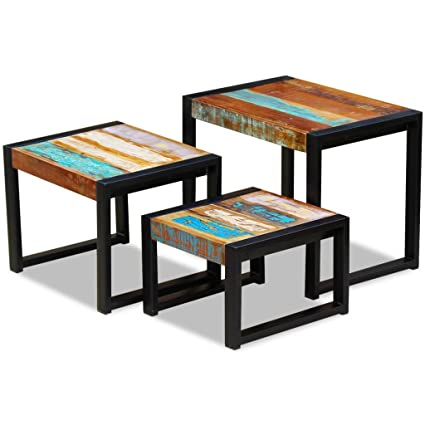 daonanba vintage style unique three piece nesting tables durable side table nightstands solid reclaimed wood - Unique Side Tables