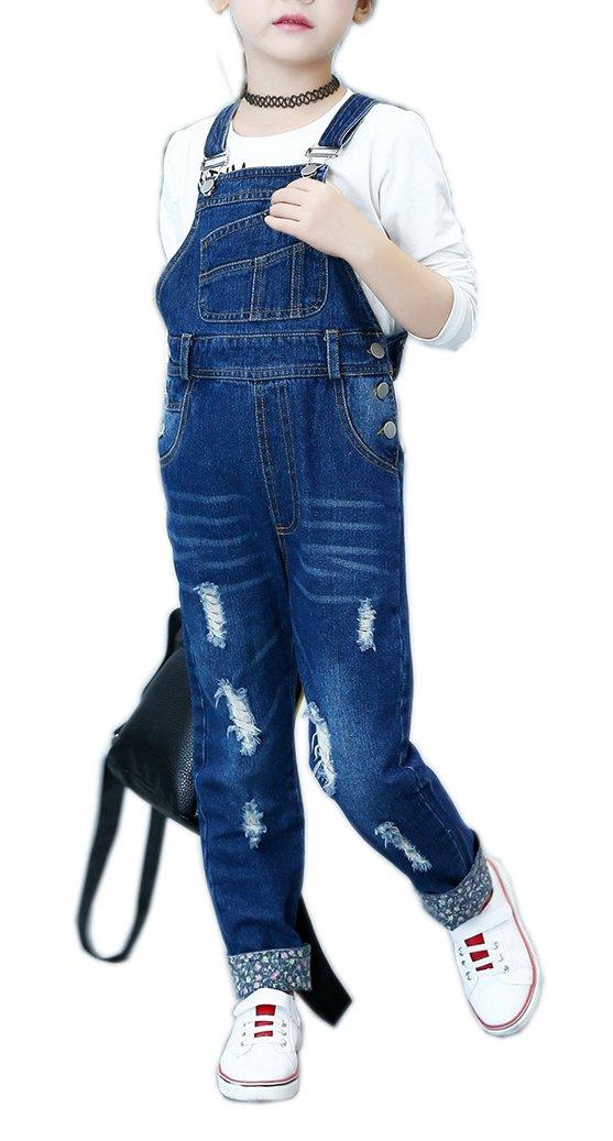 Sitmptol Big Girl's Distressed Ripped Denim Bib Jumpsuit Boyfriend Jeans Romper Dark Blue