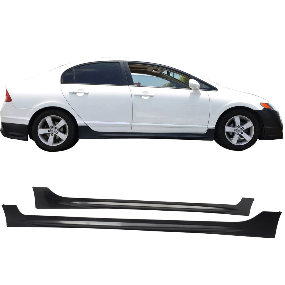2007 2008 2009 2010 Side Skirts Fits 2006-2011 HONDA CIVIC 4 DOOR SEDAN PP Black Side Bottom Line Extension by IKON MOTORSPORTS