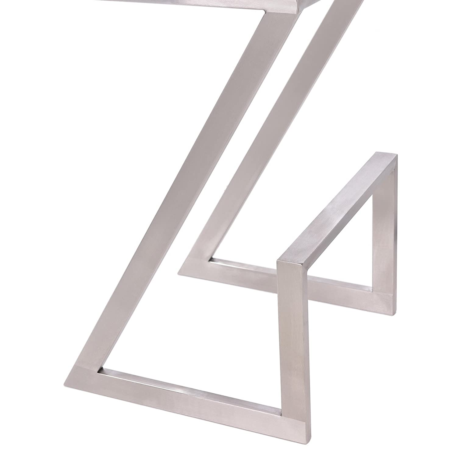 Armen Living LCAT30BAWH Atlantis 30 Bar Height Barstool in White Faux Leather and Brushed Stainless Steel Finish