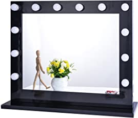 Chende Hollywood Lighted Makeup Vanity Mirror Light, Makeup Dressing Table Vanity Set Mirrors with Dimmer, Tabletop or Wall Mounted Vanity, LED Bulbs Included