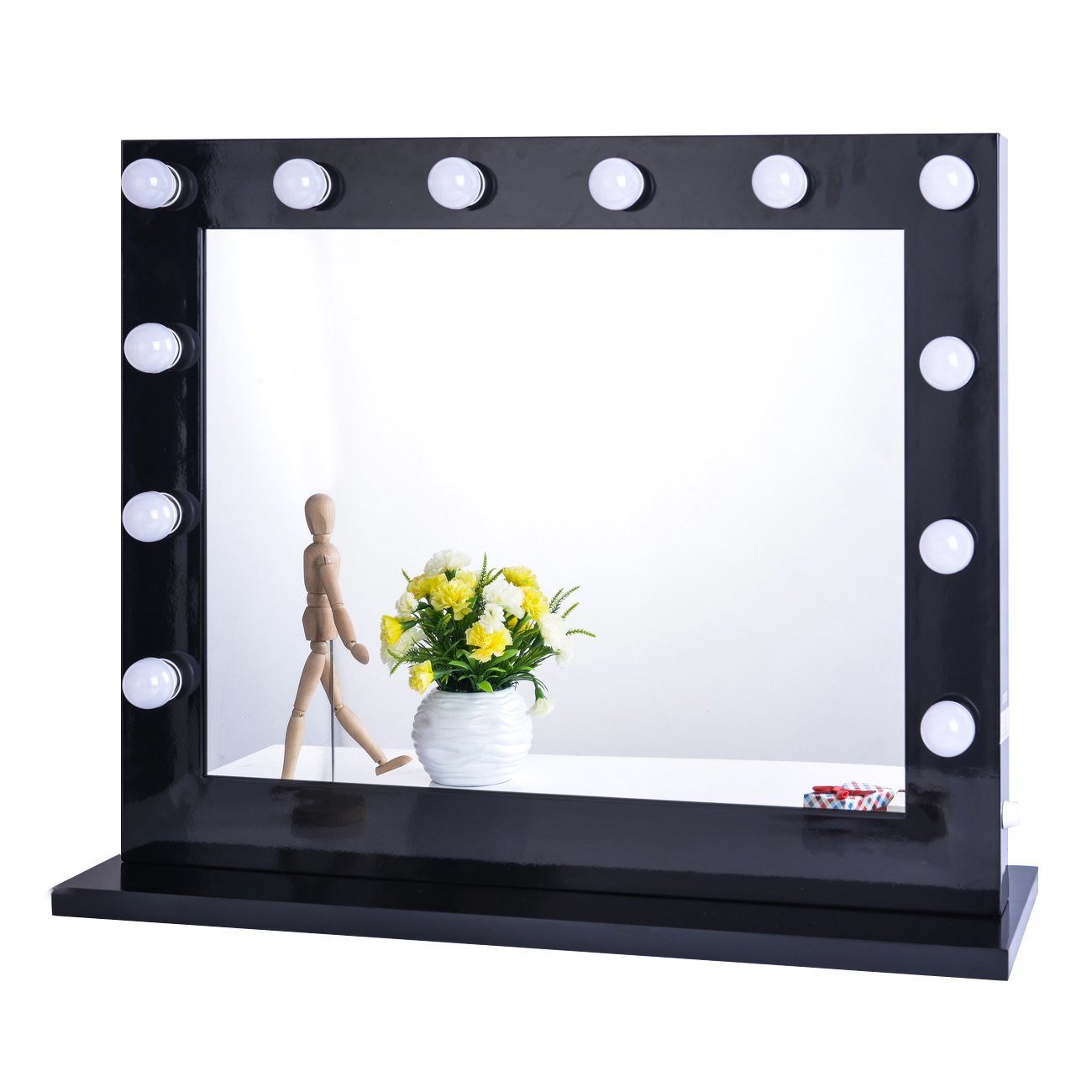 Chende Black Hollywood Lighted Makeup Vanity Mirror Light, Makeup Dressing Table Vanity Set Mirrors with Dimmer, Tabletop or Wall Mounted Vanity, LED Bulbs Included (8065, Black) by Chende