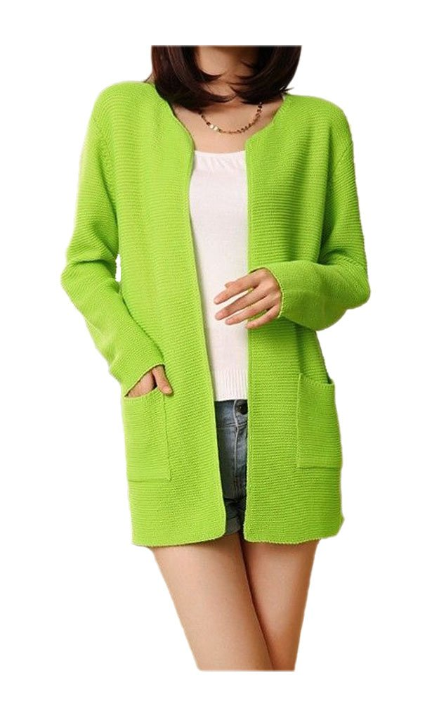 ARJOSA Women's Long Sleeve Crewneck Pockets Open Front Cardigan Jacket Coat (Green)