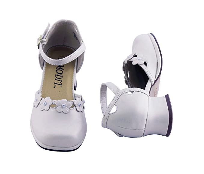 db07de2d8 Amazon.com  Girls White Dress Shoes with Flowers Baby to Girls ...