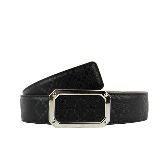 Gucci Men s Rectangular Black Diamante Leather Belt With Silver Buckle  162946 1000 (80 32 83e1c80d8d6