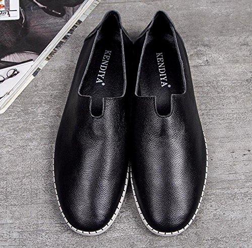 Männer Slip-On Oxford Sommer Breathable Tägliche Casual Schuhe Bequeme flache Unterseite Weiche Leder Fahrschuhe 100% Leder Loafer Schuhe , black , 44