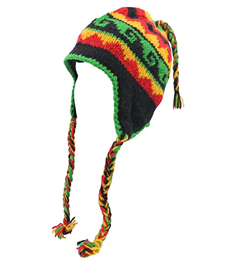 0dab1ab48e2 Image Unavailable. Image not available for. Color  Lungta Rasta Nepal Hand  Knit Ear Flaps Beanie Ski Wool Fleeced Hat
