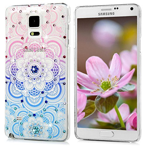 Galaxy Note 4 Case,Samsung Galaxy Note 4 Case - Mavis's Diary 3D Handmade Bling Crystal Diamond Colorful Totem Flower Shiny Sparkle Rhinestone Gems Clear Hard PC Cover