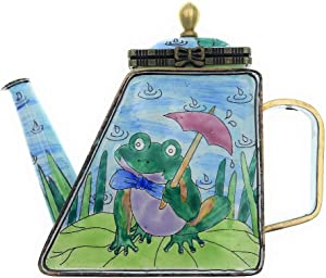 Kelvin Chen Enameled Miniature Tea Pot - Frog on Lily Pad
