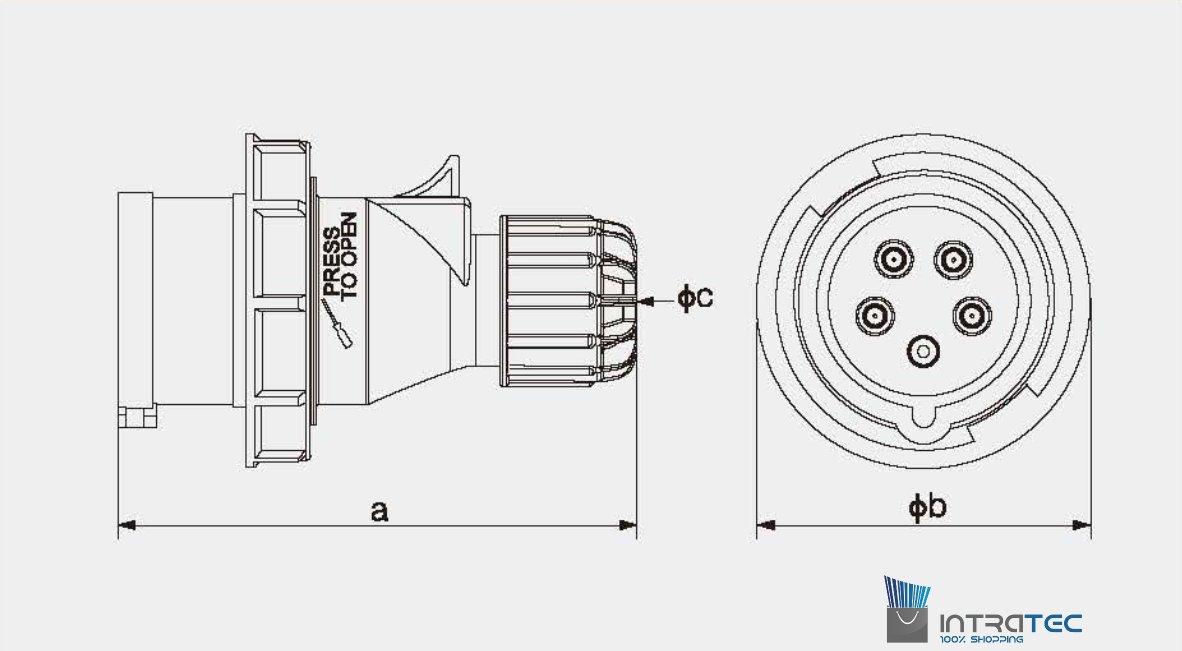 spritzwassergesch/ützt CEE-Starkstrom-Stecker Intratec 32A 400V 6h IP67 5-polig : IEC-60309 Industrie- und Mehrphasenstecker 3P+N+E