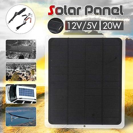 SinceY Cargador Solar USB 2.0 5V / 12V 20W Panel Solar De ...
