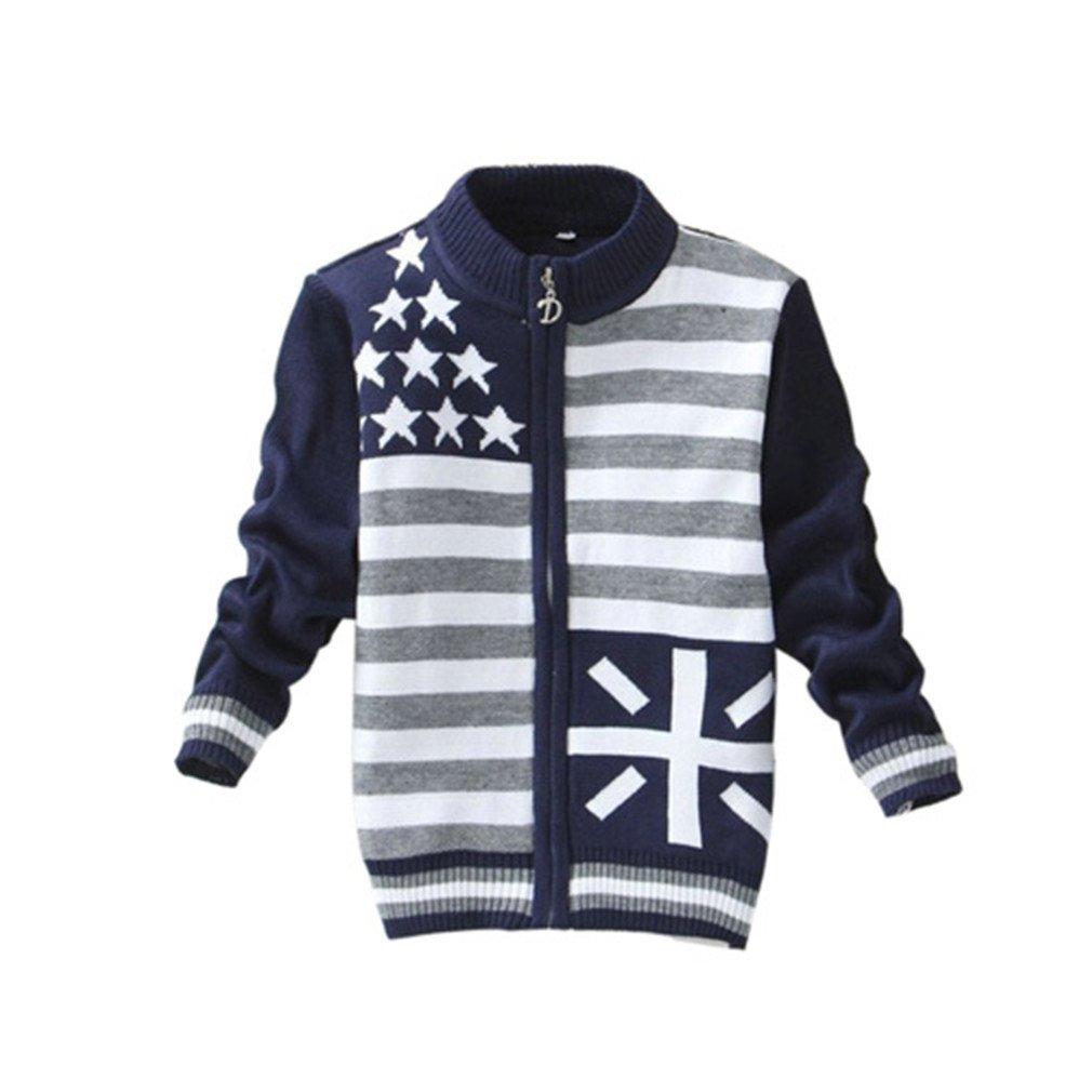 New Boys Zipper Sweaters 0-3 Years Cardigans Hot Sale Little Kids Sweaters Blue 2T