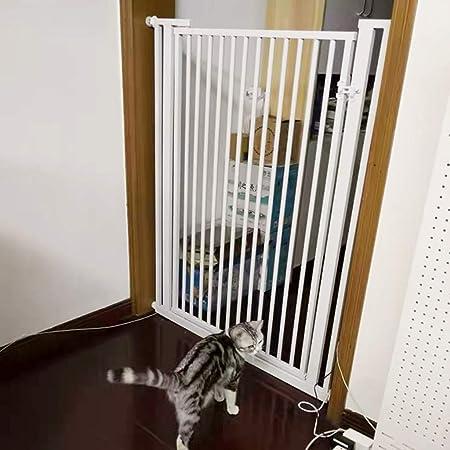 Barrera seguridad Puerta para bebés con puerta para mascotas para escaleras - Puertas de seguridad para niños, puerta de cierre automático de barrera, puerta de aislamiento blanca, ancho 70-120 cm Bar: Amazon.es: