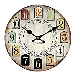 European-Style Retro 12 Inches Solid Wood Silent Sweep Wall Clock, Waterproof And Anti-oxidation Dial