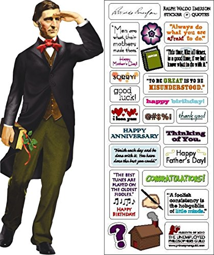 Ralph Waldo Emerson Quotable Notable - Die Cut Silhouette Greeting Card and Sticker Sheet
