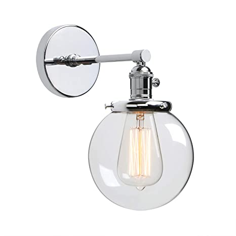 Magnificent Phansthy Industrial Wall Light Globe Wall Sconce With 5 9 Inch Clear Glass Canopy Chrome Home Interior And Landscaping Fragforummapetitesourisinfo