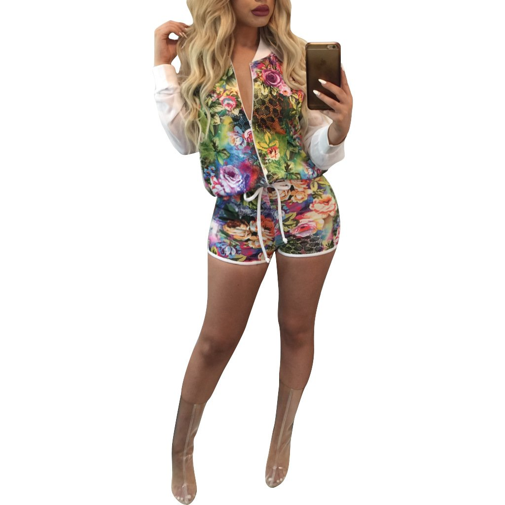 2 Piece Outfits for Women Long Sleeve Floral Print Biker Bomber Jacket with Shorts, X-Large