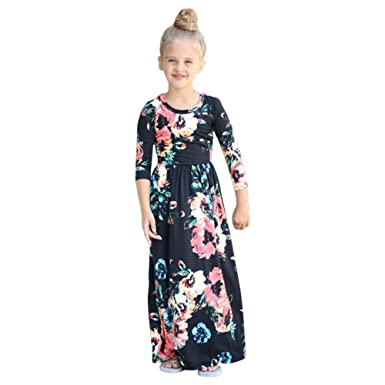 537ba61425c4 Amazon.com  LSERVER Long Floral Maxi Dresses for Girls Round Collar ...