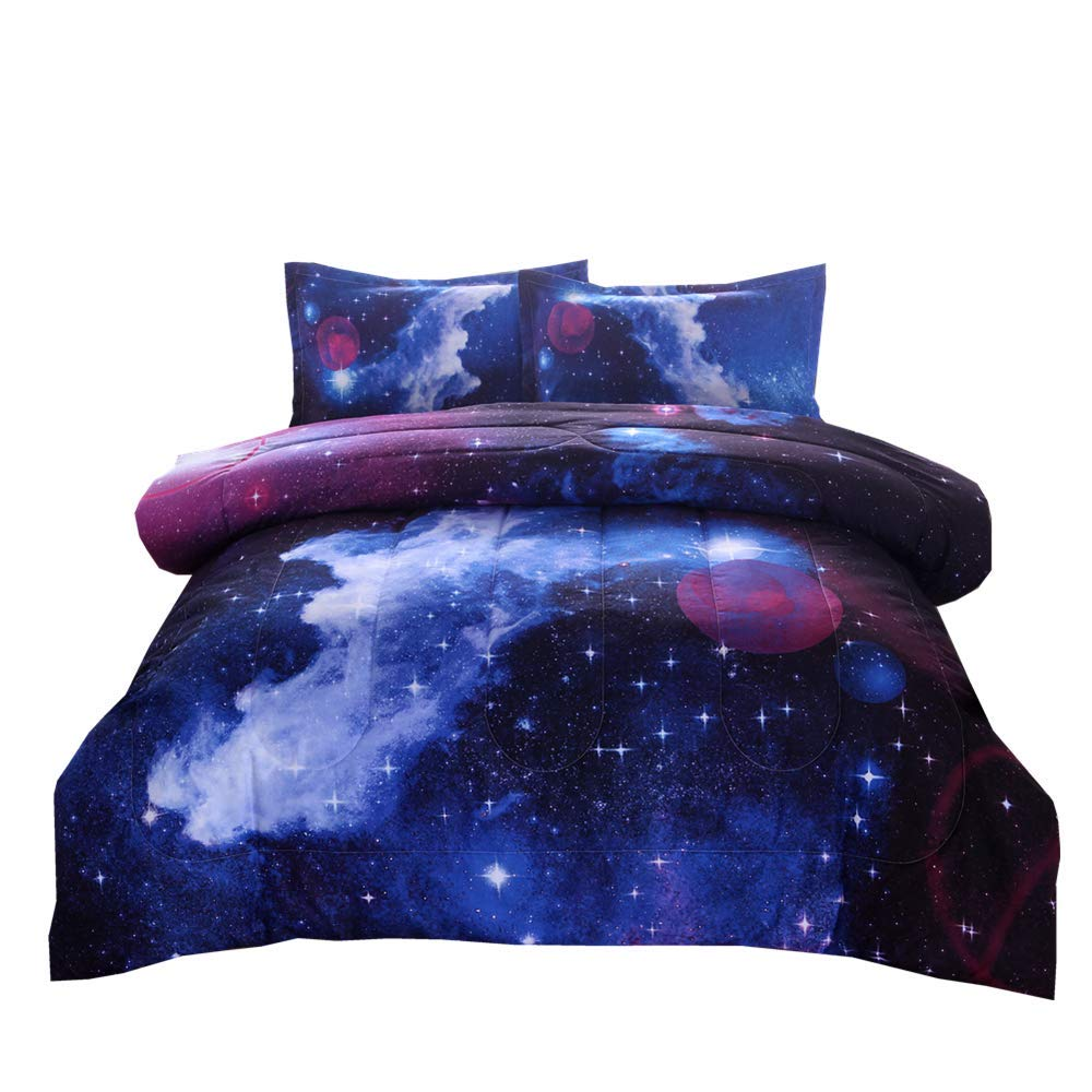 PomCo Galaxy Comforter Twin (68x88 Inch), 2Pcs(1 Galaxy Comforter & 1 Pillowcases) 3D Space Outer Sky Microfiber Bedding Set, Universe Cloud Galaxy Comforter Set for Boy Girl Teen Kid