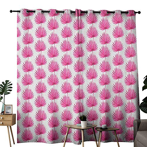 Island Style Sushi Set - duommhome Leaf Fresh Curtains Watercolor Style Pink Tropical Leaves Exotic Hawaiian Jungle Island Foliage Set of Two Panels W108 x L96 Hot Pink Coconut