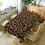 Moslion Brown Tablecloth,Leopard Print Animal Skin Digital Printed Themed Spotted Pattern,Kitchen Dining Room Rectangular Table Cover,60'' W X 90'' L, Brown