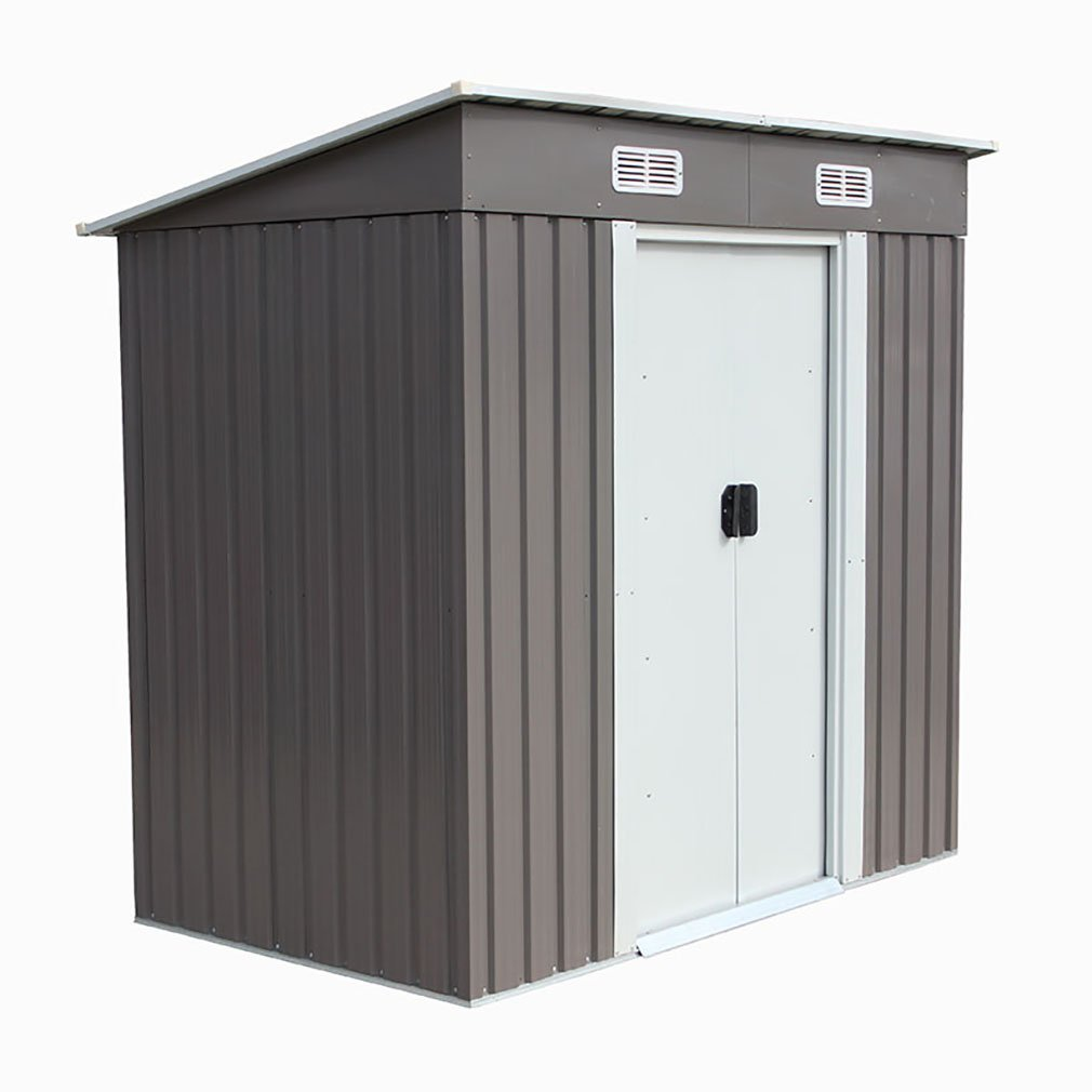 4'×6' Outdoor Steel Metal Garden Storage Shed Tool House W/Sliding Door BestMassage