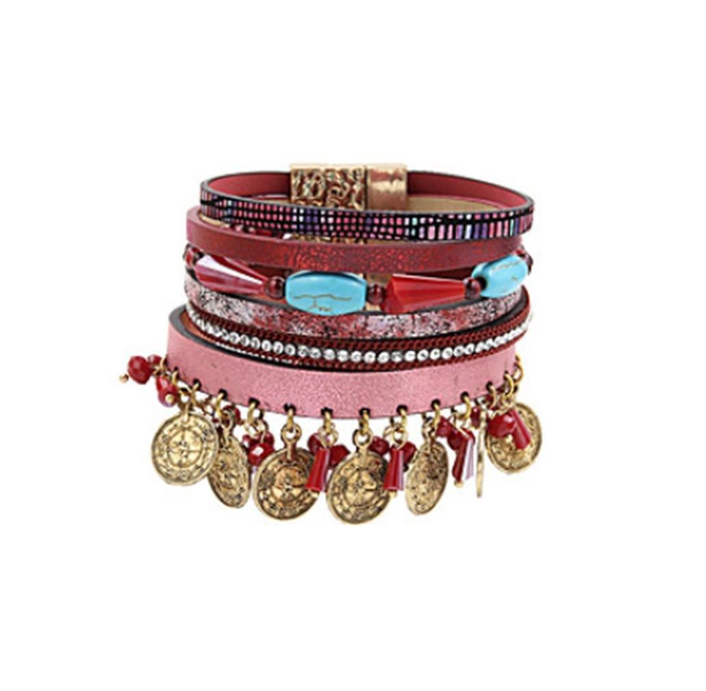 GYJUNファッション女性マルチ行天然石セットコインチャームレザーブレスレット、赤   B077Q8F97M
