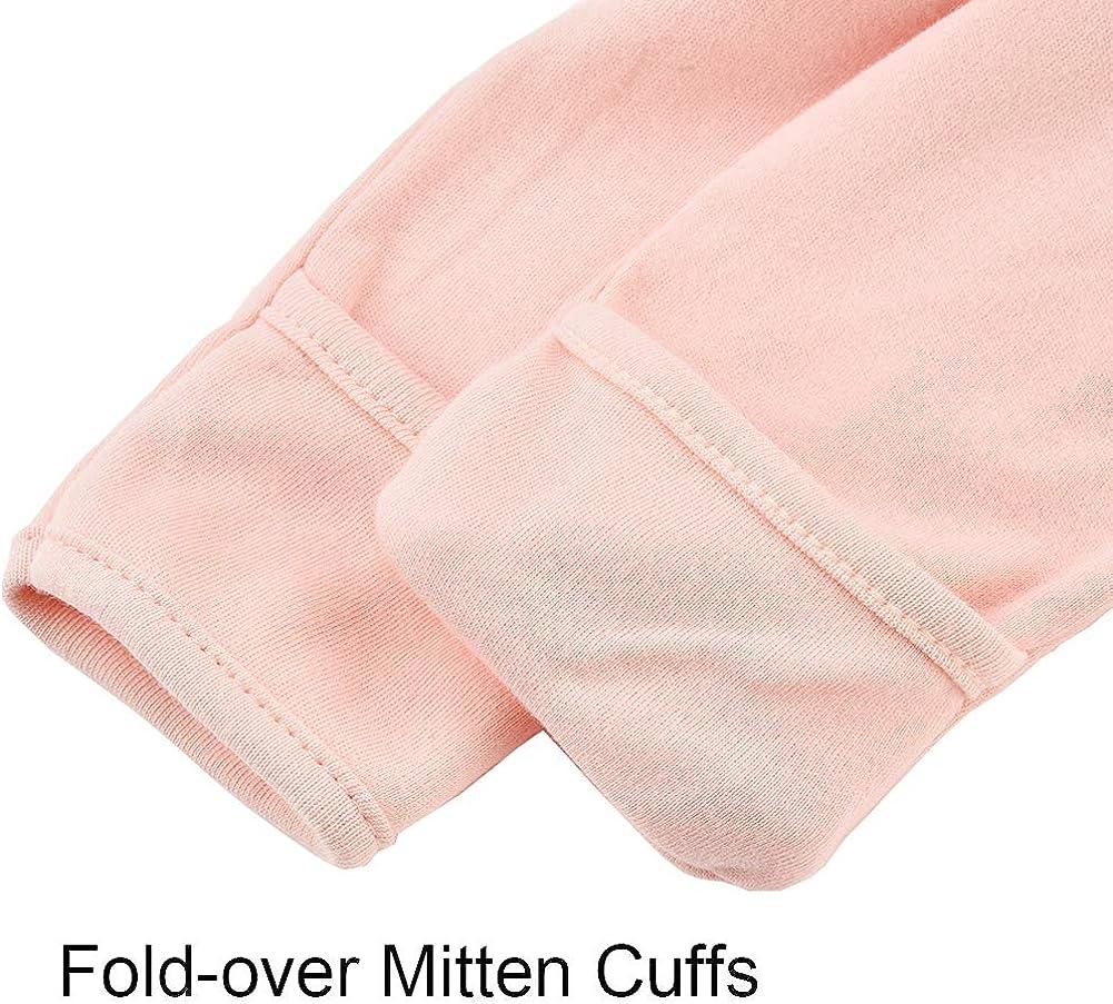 Baby Footed Pajamas Sleeper with Mitten 3 Packs Newborn Cotton Pjs Onesies Infant Snap Jammies