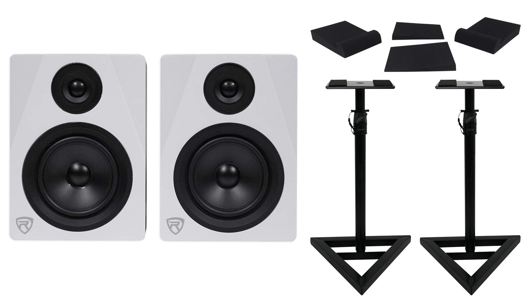 Pair Rockville APM5W 5.25'' 2-Way 250W Powered USB Studio Monitors+Stands+Pads by Rockville
