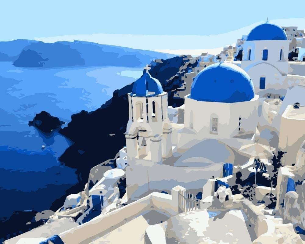 Paint By Numbers Kit DIY Number Canvas Hand Painting Kits Oil Santorini Greece