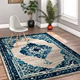 Talya Abstract Vintage Distressed Medallion Blue Beige 8x10 (7'10'' x 9'10'') Area Rug
