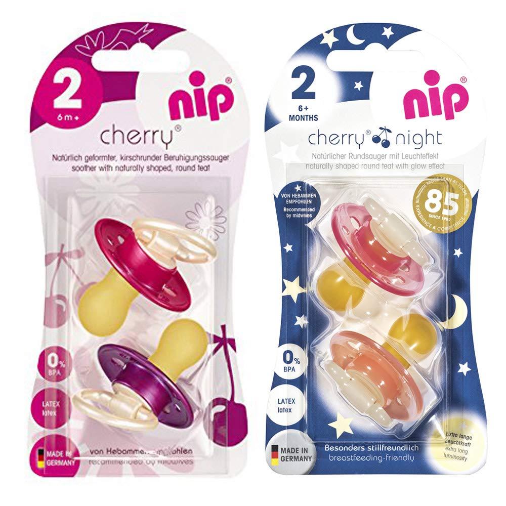 meses////Crema /& Rosa Morado /& Rojo Nip Cherry redondo Aspiradora Chupete 4/unidades Girl Set////Talla 2////6/