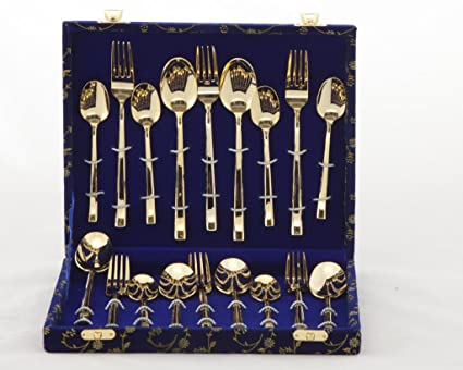 Valerio - 24ct Gold Plated Cutlery Set (3 MM) 18 pcs In Velvet Box & Buy Valerio - 24ct Gold Plated Cutlery Set (3 MM) 18 pcs In Velvet ...