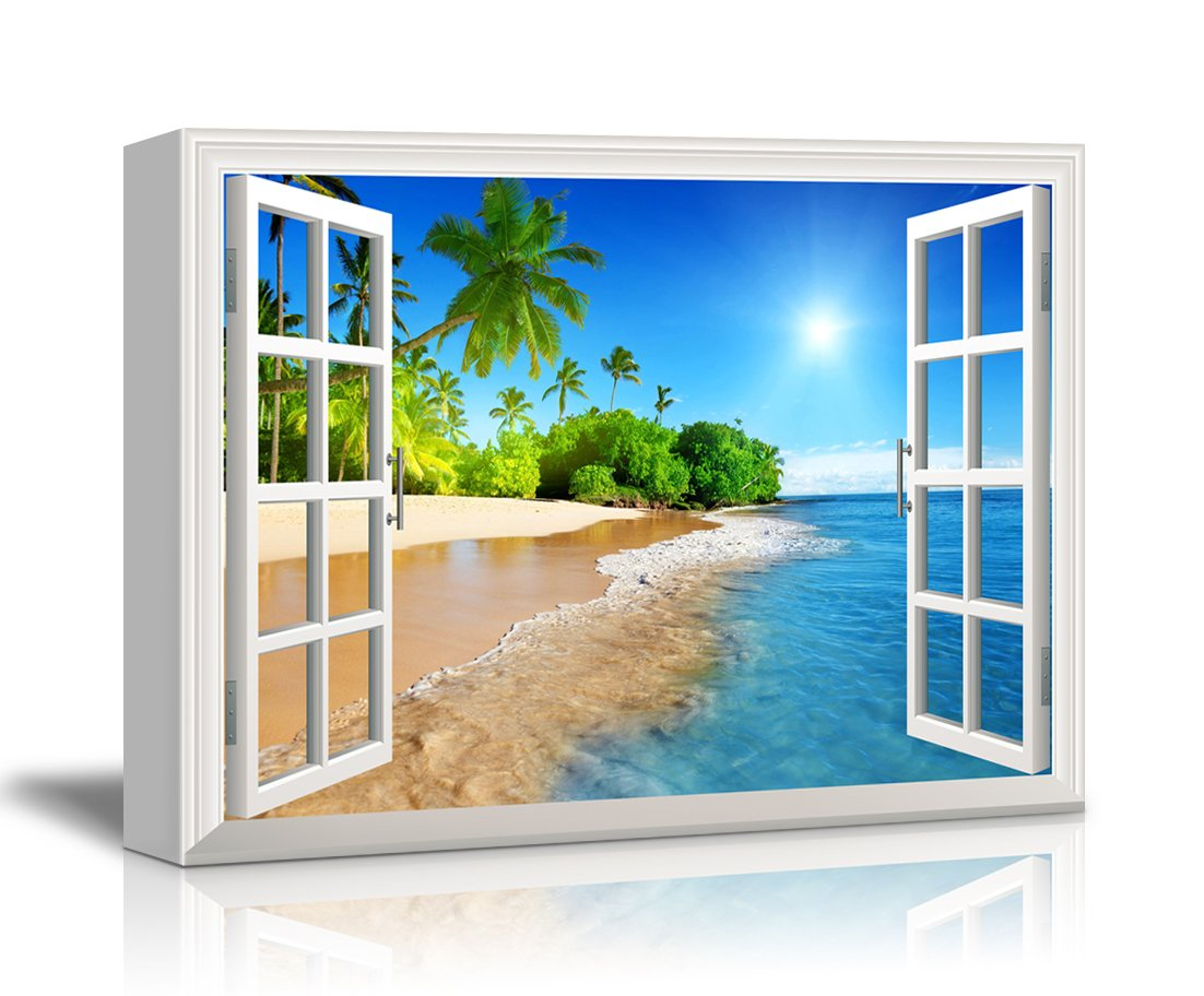 Wall26 Canvas Print Wall Art - Window Frame Style Wall Decor - Beautiful Tropical Beach with White Sand,Clear Sea and Palm Trees under Blue Sunny Sky - 36'' x 48''