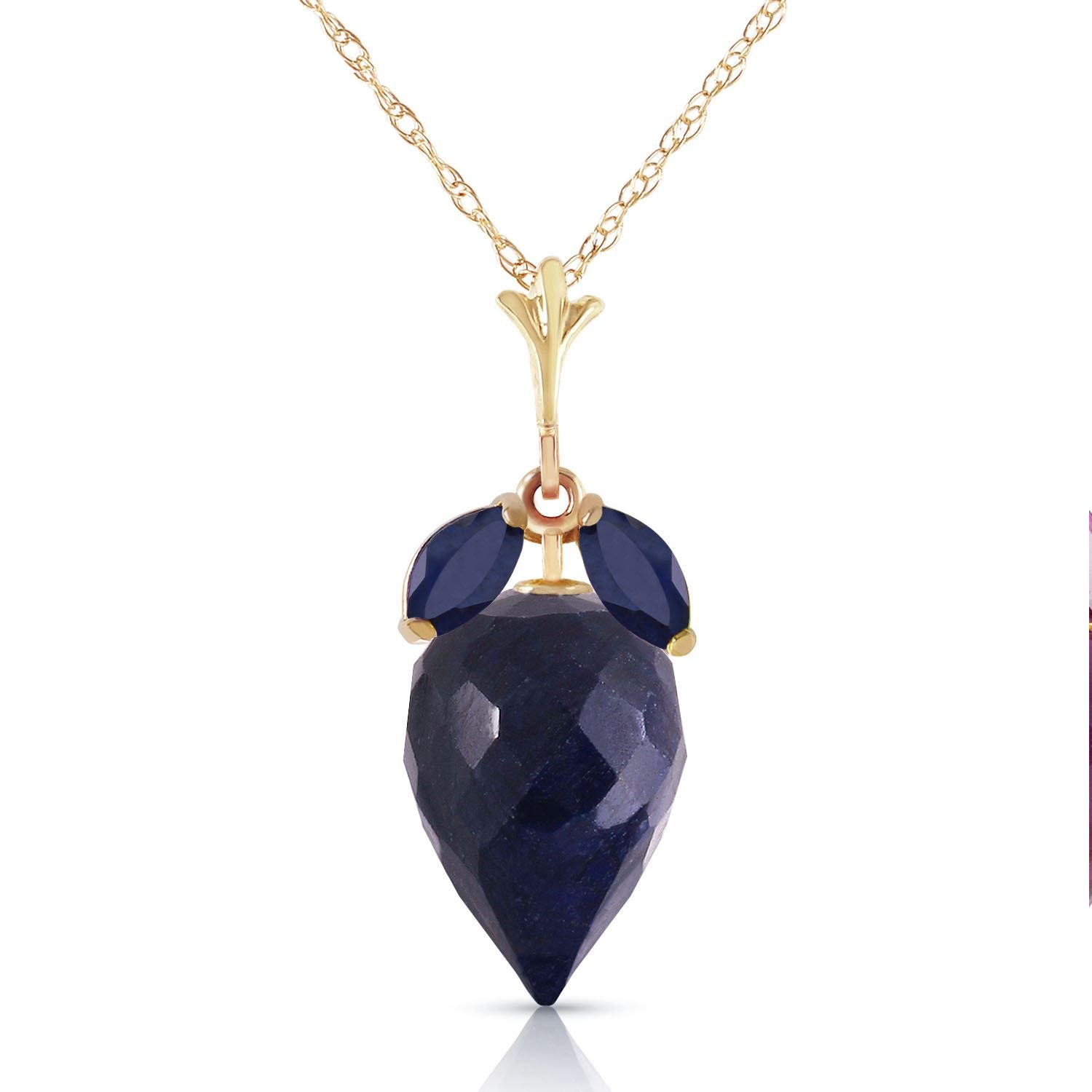 ALARRI 14K Solid Rose Gold Necklace w// Rose Topaz /& Sapphire with 20 Inch Chain Length