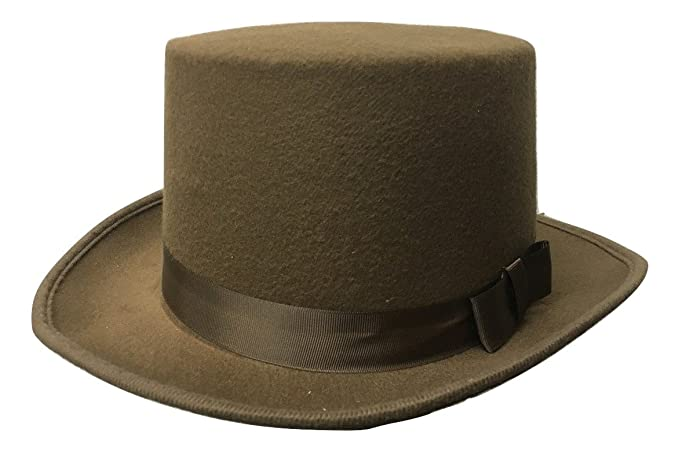 Image Unavailable. Image not available for. Color  5 quot  Tall Brown Felt  Steampunk Victorian Men s Short Top Hat Costume Accessory f4433b69516a