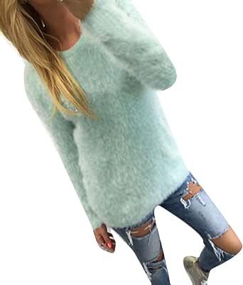 DressUWomen Claasic cuello redondo color puro tapas de camisetas jersey para Mujers
