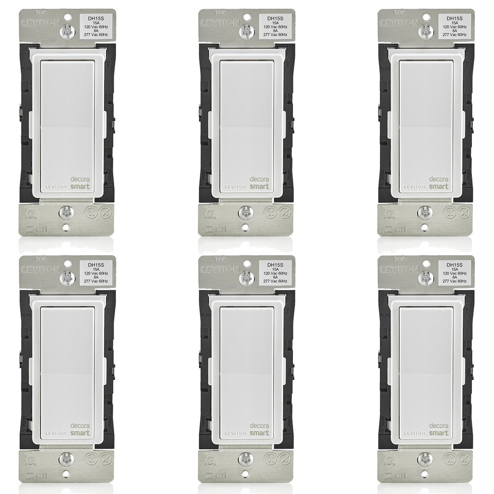 Leviton DH15S-1BZ 15A Decora Smart Switch, Works with Apple HomeKit (6 Pack)